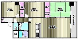 ベルモード三国ヶ丘[10階]の間取り