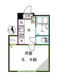 都営大江戸線 西新宿五丁目駅 徒歩3分の賃貸アパート 1階1Kの間取り