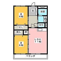 コスモスYK21[1階]の間取り