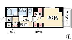 L'Allure 6階ワンルームの間取り