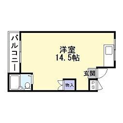 JR片町線(学研都市線) 徳庵駅 徒歩6分の賃貸マンション 2階ワンルームの間取り
