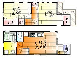 阪急宝塚本線 庄内駅 徒歩10分の賃貸一戸建て 1階2LDKの間取り