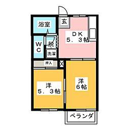 ラポール多加木[2階]の間取り