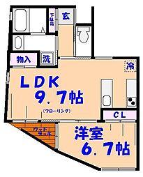 八幡アパートメンツ[1階]の間取り