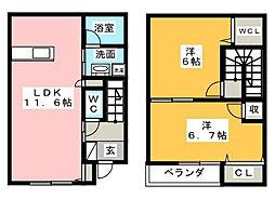スキポール野田[1階]の間取り