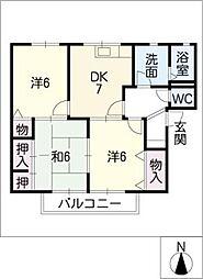 サンルミエール豊川B棟[2階]の間取り