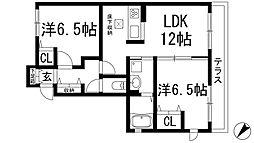 兵庫県川西市萩原台東1丁目の賃貸アパートの間取り