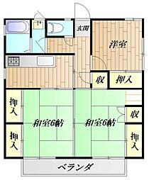 神奈川県横須賀市安浦町1丁目の賃貸アパートの間取り
