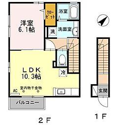 セジュールアミー[2階]の間取り