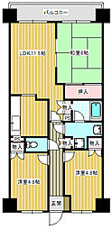 deux ローズレイアA棟[4階]の間取り