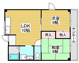 サンハイツ北花田第1[3階]の間取り