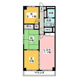 クレアージュ小田[3階]の間取り
