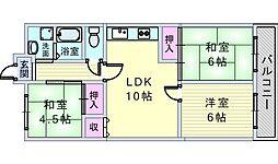 ベルヴュー赤阪[406号室]の間取り