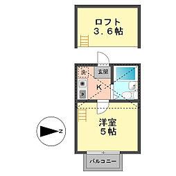 東京都葛飾区鎌倉1丁目の賃貸アパートの間取り