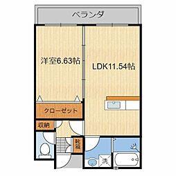 (仮)T様共同住宅(15) 2階1LDKの間取り