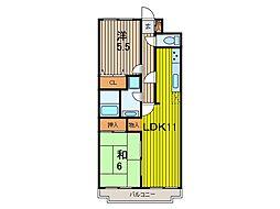 FIVEマンション 2階2LDKの間取り