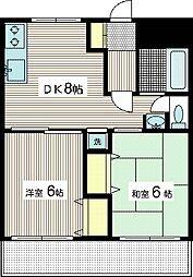 レジデンス向ヶ丘B 3階2DKの間取り