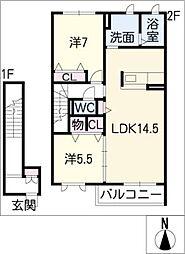 ヴィラーチェ東野 B棟[2階]の間取り