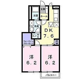 埼玉県鴻巣市榎戸2の賃貸アパートの間取り