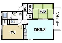 奈良県奈良市大安寺7丁目の賃貸アパートの間取り