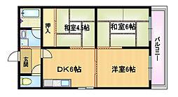 Osaka Metro谷町線 都島駅 徒歩4分の賃貸マンション 4階3DKの間取り