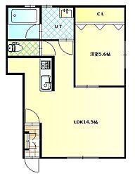 深堀町新築アパートC棟 1階1LDKの間取り