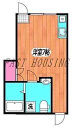 東京メトロ丸ノ内線 四谷三丁目駅 徒歩5分の賃貸アパート 1階ワンルームの間取り
