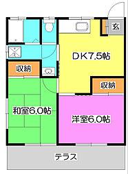 東京都東村山市秋津町4丁目の賃貸アパートの間取り
