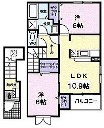 クラールむらさきの1[2階]の間取り