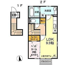 富山県富山市西荒屋の賃貸アパートの間取り