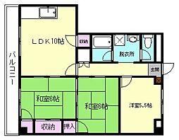 博多駅東コーポ[3D号室]の間取り