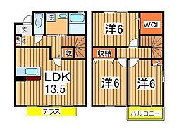 千葉県柏市小青田2丁目の賃貸アパートの間取り