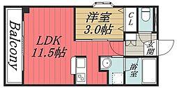千葉県千葉市中央区亀井町の賃貸マンションの間取り