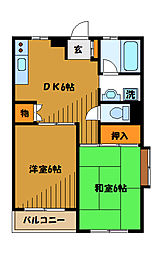 東京都国分寺市東恋ヶ窪6丁目の賃貸マンションの間取り