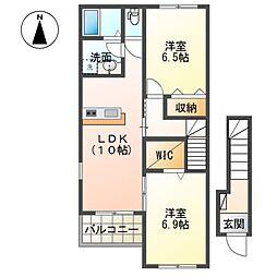 (仮称)茂原市東郷新築アパート[201号室]の間取り