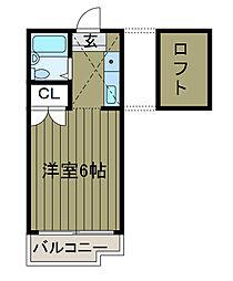 神奈川県相模原市南区東林間7丁目の賃貸アパートの間取り