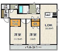 荒牧新築アパート[102号室]の間取り
