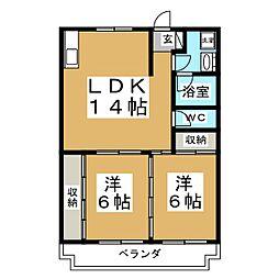 コーポ川嶋[2階]の間取り