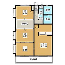 スパローハイツB棟[2階]の間取り