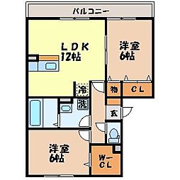 長崎県西彼杵郡長与町嬉里郷の賃貸アパートの間取り