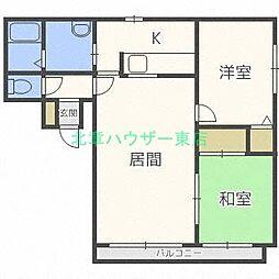 北海道札幌市東区北三十二条東3丁目の賃貸マンションの間取り