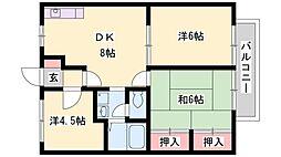 セラヴィA・B棟[2階]の間取り