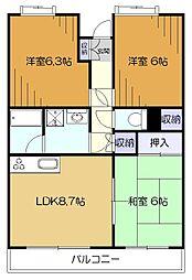 東京都東大和市向原3丁目の賃貸マンションの間取り