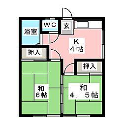 ミヤギアパートB[1階]の間取り