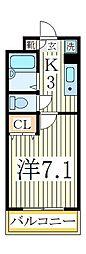 K−1マンション[2階]の間取り