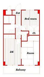 クレスト辻堂[3階]の間取り
