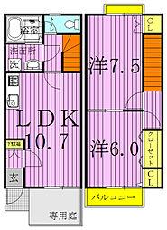 [テラスハウス] 千葉県野田市中野台 の賃貸【/】の間取り