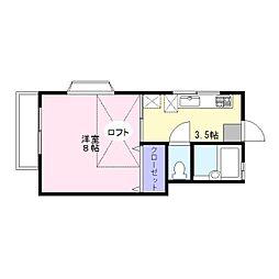 神奈川県横須賀市追浜町1丁目の賃貸アパートの間取り