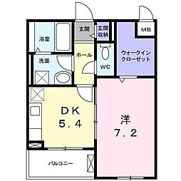 長野西アパートB[0206号室]の間取り