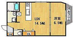 JR山陽本線 大久保駅 徒歩7分の賃貸アパート 1階1LDKの間取り